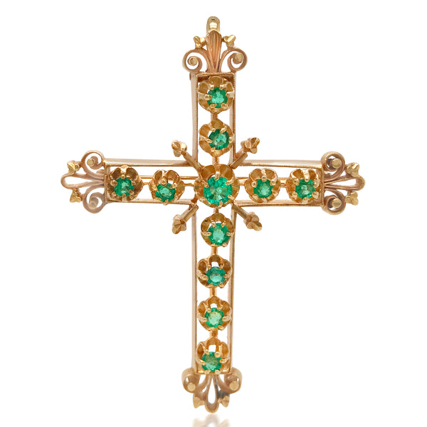 Victorian 14K Gold Emerald Cross Pendant  Brooch - Lueur Jewelry