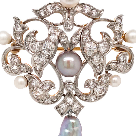 Antique Diamond Pearl Brooch - Lueur Jewelry