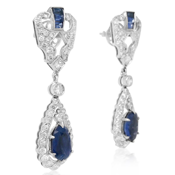 18K Gold Diamond Sapphire Earrings - Lueur Jewelry