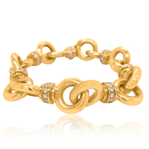 18K Gold Diamond Link Bracelet - Lueur Jewelry