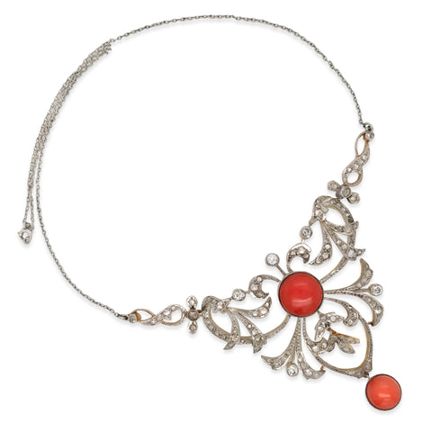 Silver Top Gold Antique Coral  Diamond Necklace - Lueur Jewelry
