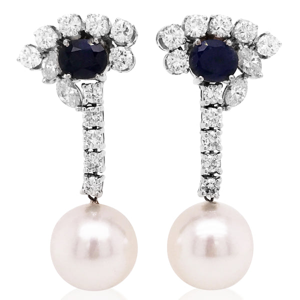 18K White Gold Sapphire Pearl Earrings