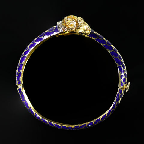 Blue Enamel Bangle Bracelet with Gold Flower