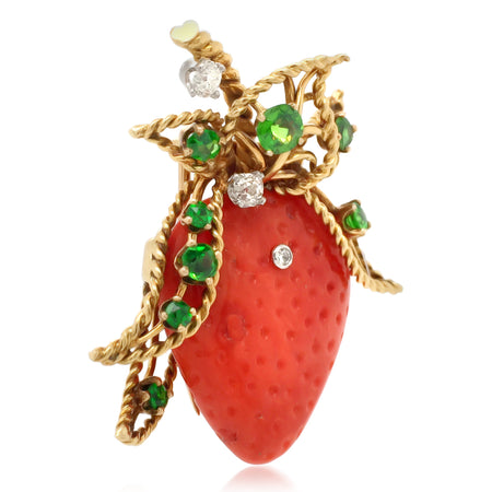 18K Gold Diamond Garnet Coral Strawberry Brooch - Lueur Jewelry