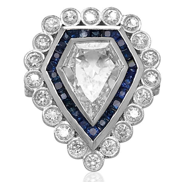 Platinum Diamond and Sapphire Ring - Lueur Jewelry