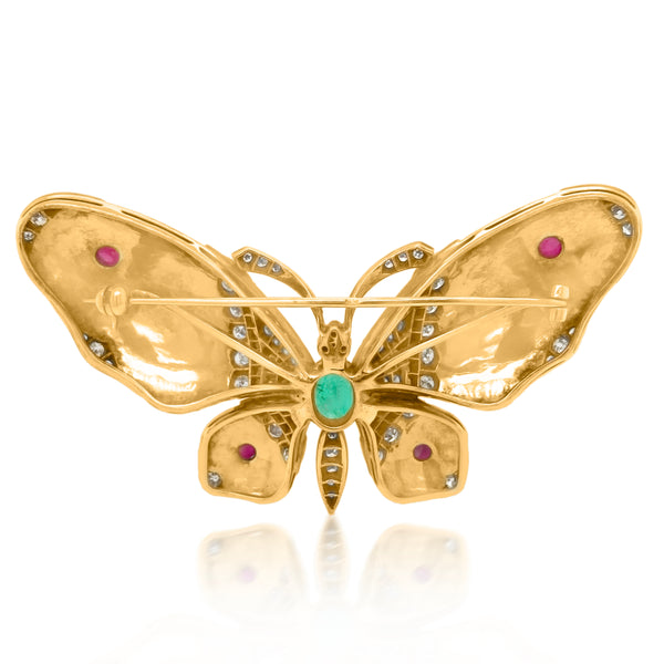 Enamel Butterfly Gold Brooch - Lueur Jewelry