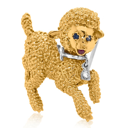 18K Gold Diamond Sapphire Lamb Brooch - Lueur Jewelry