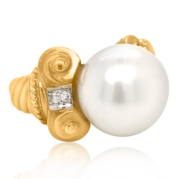 18K Gold South Sea Pearl Diamond Ring - Lueur Jewelry