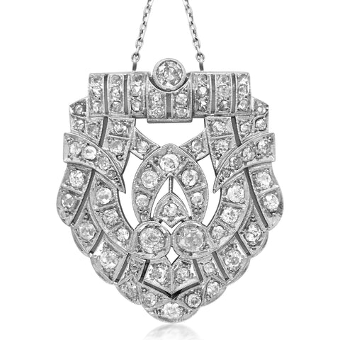 Platinum Diamond Pendant Necklace - Lueur Jewelry