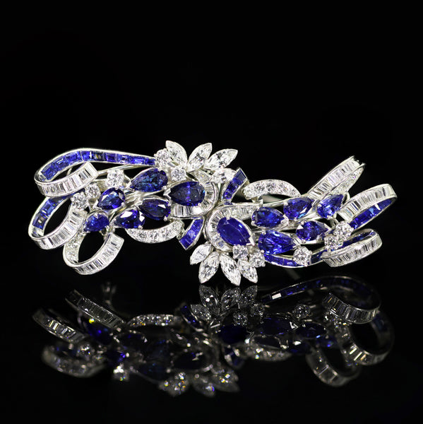 Tiffany, Platinum Sapphire Diamond Double-clip Brooch - Lueur Jewelry