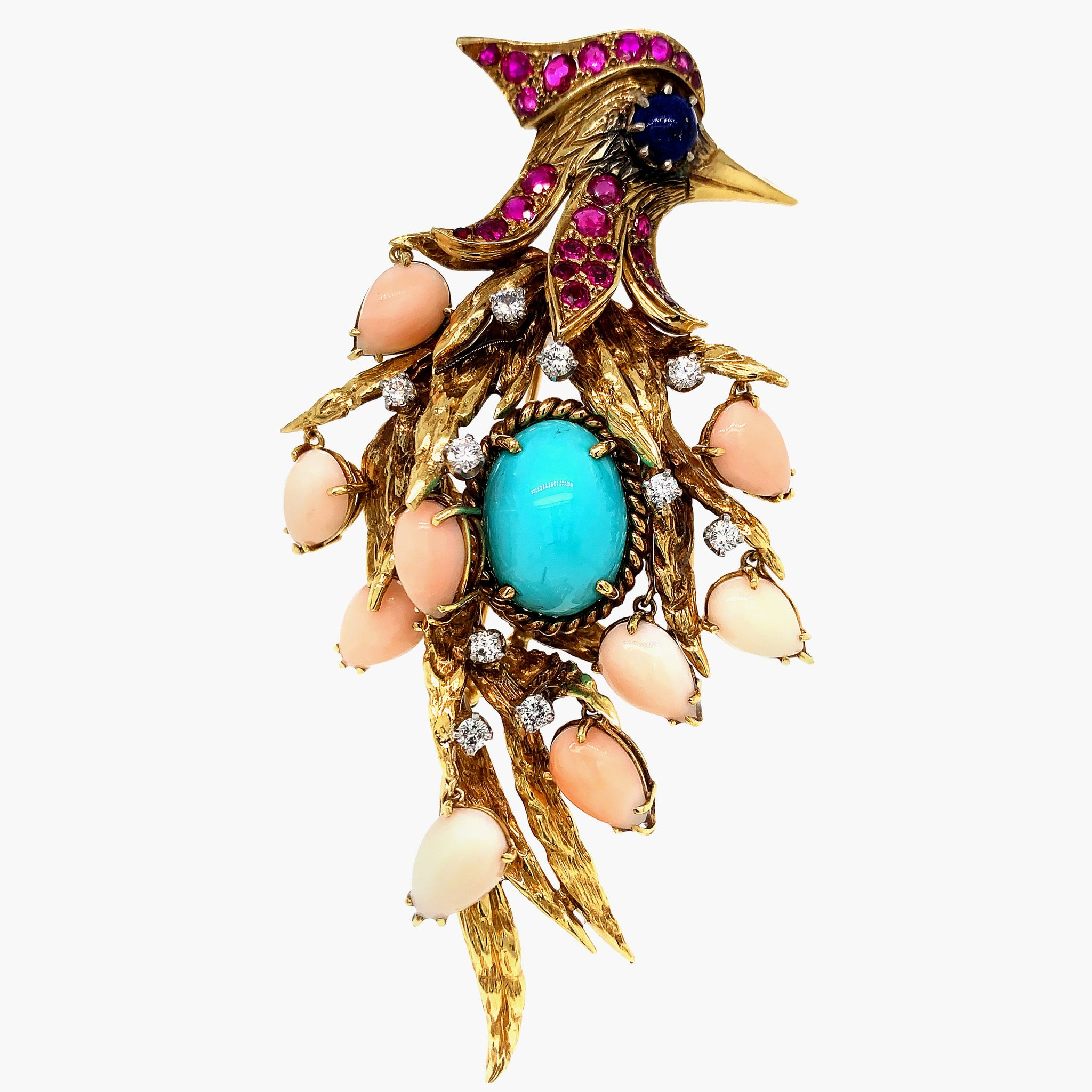Gold Ruby Turquoise Lapis Lazuli Coral and Diamond Woodpecker Brooch - Lueur Jewelry