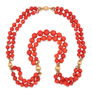 18K Gold Double Str Coral Gold Bead Necklace - Lueur Jewelry