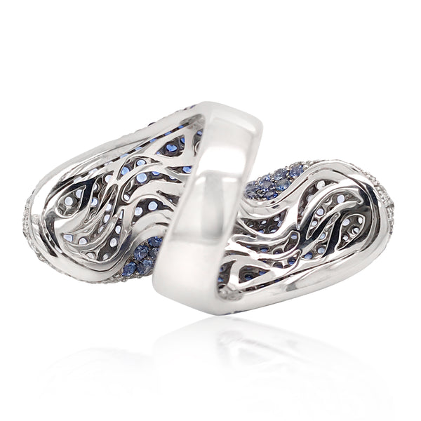 18K White Gold Ombre Sapphire and Diamond Ring - Lueur Jewelry