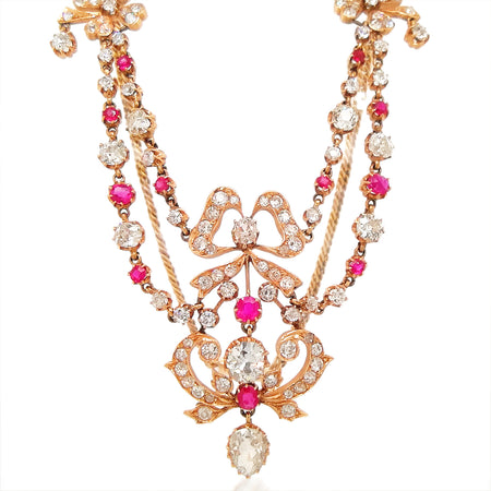 Victorian Ruby Diamond Necklace - Lueur Jewelry