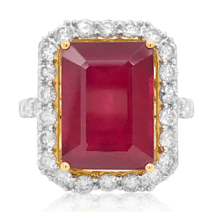 Diamond Ring Cushion-shaped Ruby - Lueur Jewelry