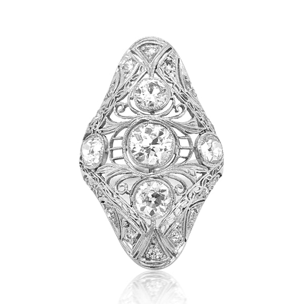 Platinum Art Deco Diamond Ring - Lueur Jewelry