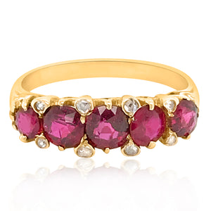 Antique Ruby Diamond Ring - Lueur Jewelry