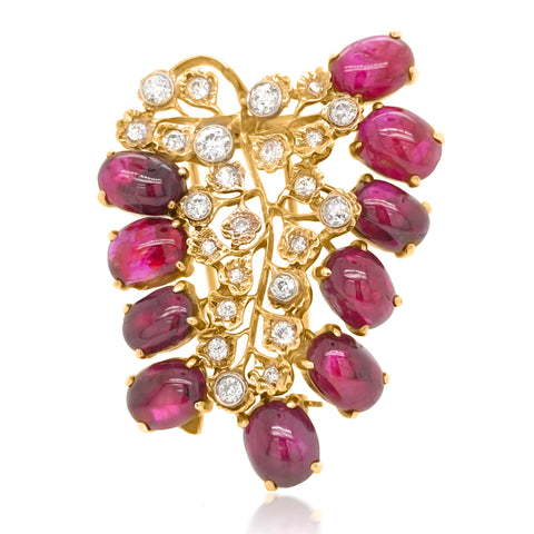 18K Gold Cabochon Ruby Diamond Brooch - Lueur Jewelry