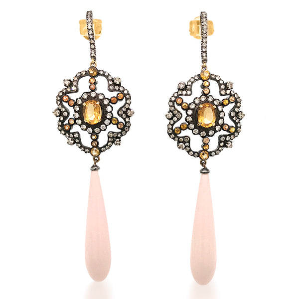 Silver-Top-Gold Diamond Citrine Coral Earrings - Lueur Jewelry