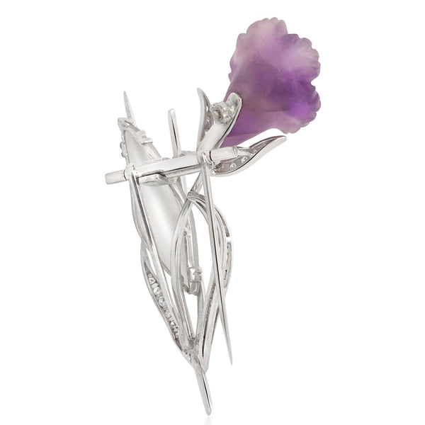 Platinum Diamond Amethyst Rock Crystal Floral Brooch - Lueur Jewelry