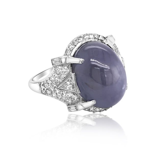 Platinum Star Sapphire Diamond Ring - Lueur Jewelry