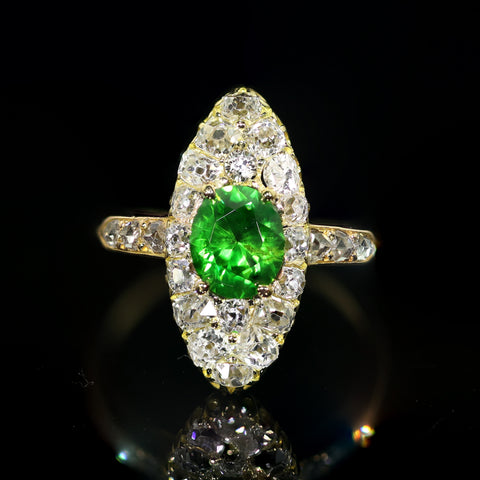 Antique Demantoid Garnet and Diamond Ring, French