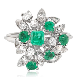 14K Emerald Diamond Cluster Ring - Lueur Jewelry