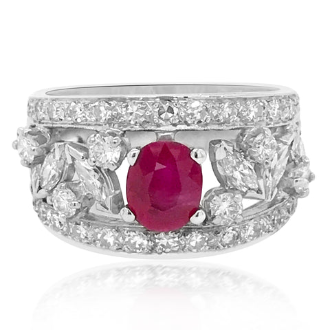 14K White Gold Ring with Diamond and One 1.07ct Oval Ruby - Lueur Jewelry
