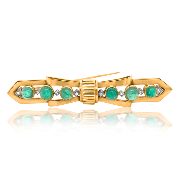Tiffany, 14K Gold Emerald Diamond Bar Pin - Lueur Jewelry