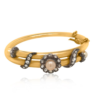 14K Gold French Diamond Pearls Bangle Bracelet - Lueur Jewelry