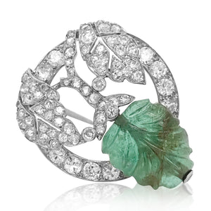 Marchak, Paris, Platinum Carved Emerald  Diamond Pin - Lueur Jewelry