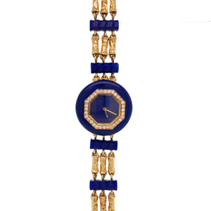Boucheron, Triple Strand Hammered Gold Lapis and Diamond Bracelet-Watch - Lueur Jewelry