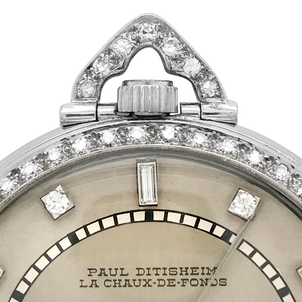 Paul Ditisheim, Platinum Diamond Pocket Watch - Lueur Jewelry