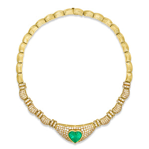 18K Gold Heart-shaped Emerald Diamond Necklace - Lueur Jewelry