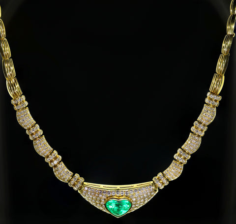 Gold, Emerald and Diamond Necklace