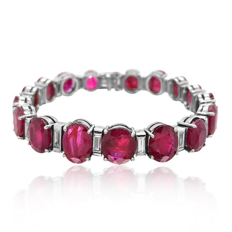 Ruby Diamond Platinum Bracelet - Lueur Jewelry