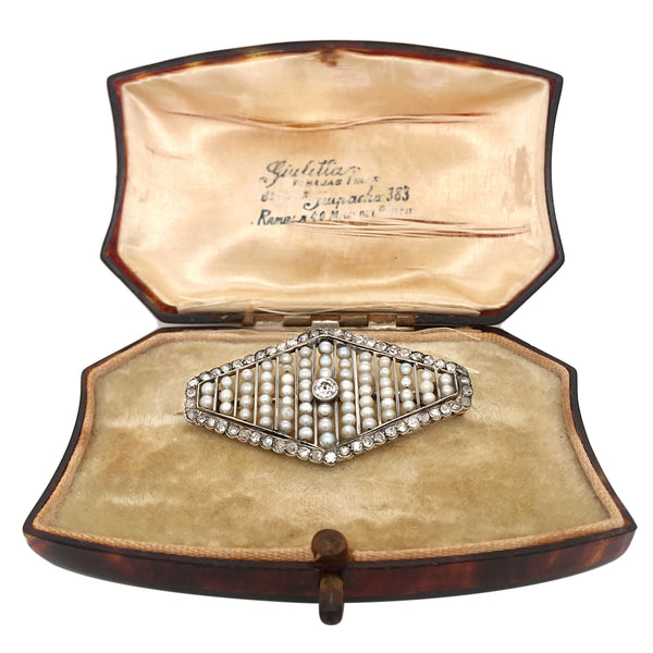 Edwardian Platinum Diamond Pearl Brooch - Lueur Jewelry