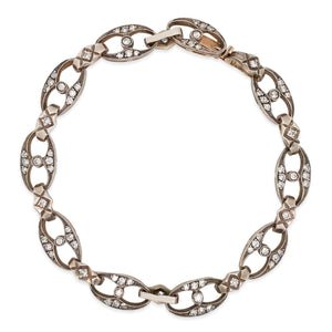 Silver-Topped Gold Diamond Bracelet - Lueur Jewelry