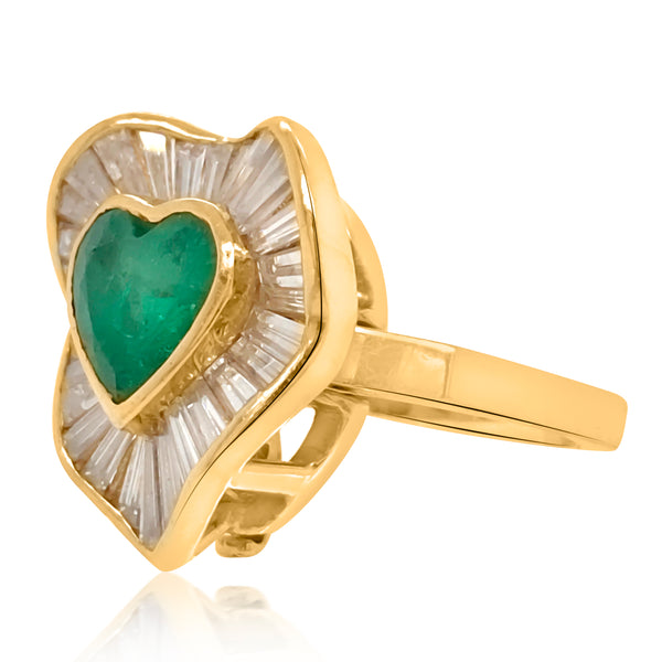 18K Gold Emerald Diamond Convertible Ring Pendant - Lueur Jewelry