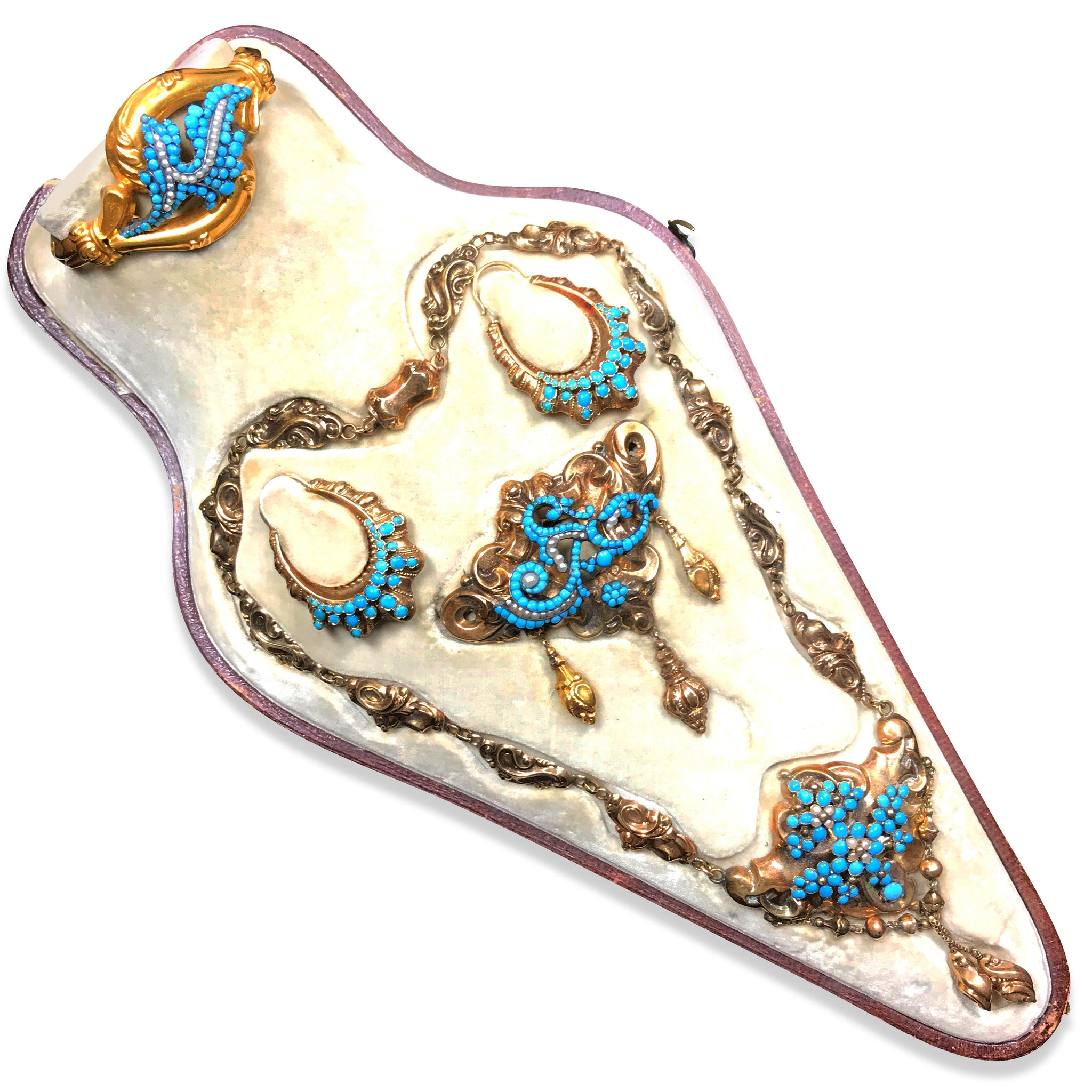 Victorian Gold Turquoise Suite - Lueur Jewelry