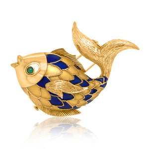 Boucheron, 18K Gold Enamel Fish Brooch - Lueur Jewelry