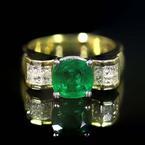 18kt Gold, Platinum, Emerald, and Diamond Ring