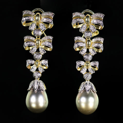 A Pair of 18 Karat Bicolor Gold, Diamond and Cultured Tahitian Pearl Convertible Earrings