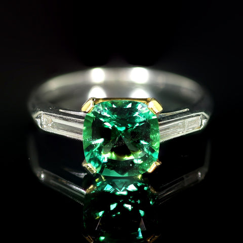 A 2.05-Carat Colombian No-Oil Emerald and Diamond Ring