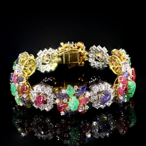 A Tutti-Frutti and Diamond Bracelet
