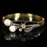 Antique Natural Pearl and Diamond Bangle