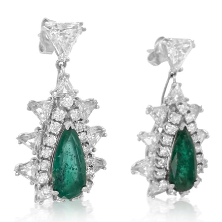 14K Gold Diamond Emerald Earrings - Lueur Jewelry