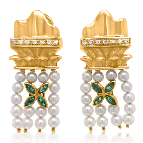 Pearl Tassle Gold Earrings - Lueur Jewelry