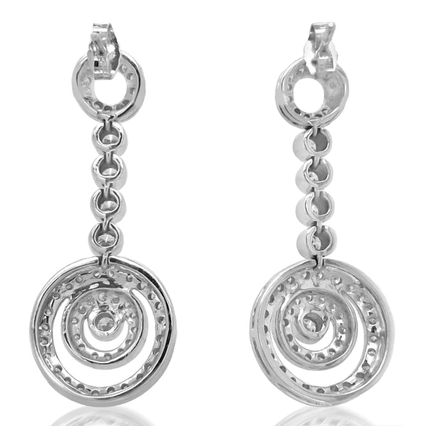 Platinum Circle-motif Diamond Earrings - Lueur Jewelry