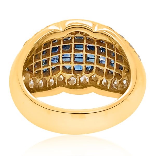 18K Yellow Gold Diamond Sapphire Ring - Lueur Jewelry